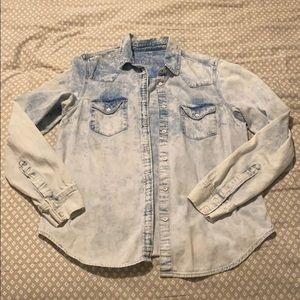 White wash jean button up